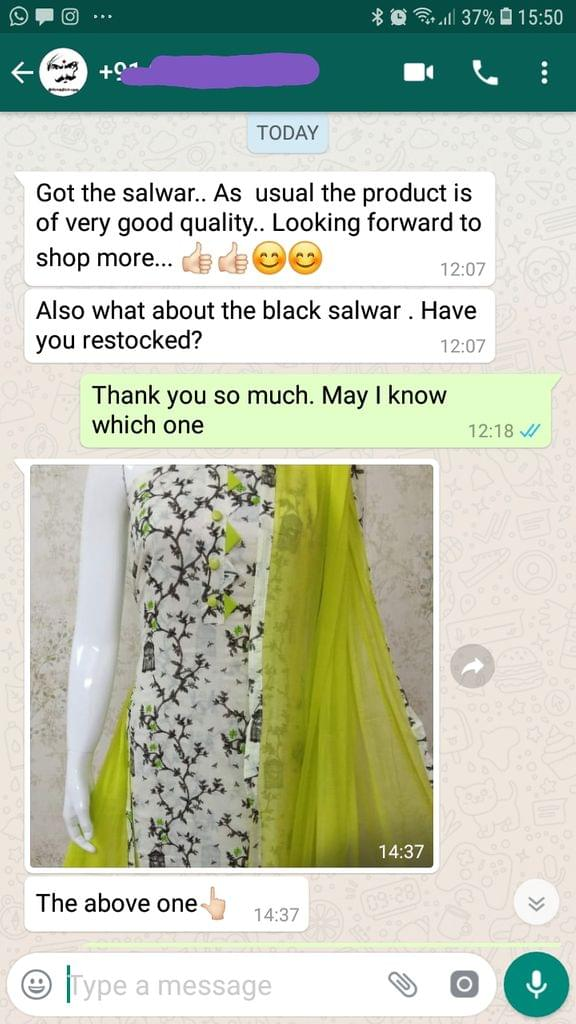 I got the salwar... As usual the product is of very good quality.... Looking forward to shop more good. -Reviewed on 24-July-2019