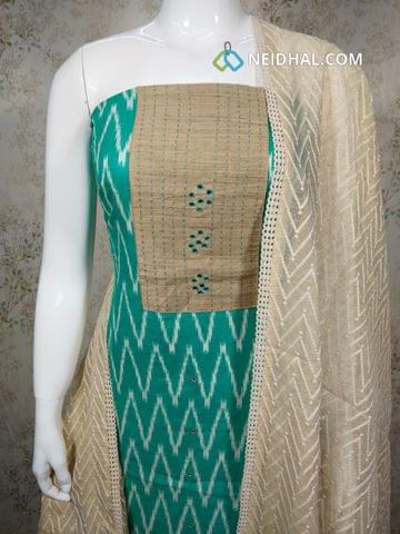 Printed Turquoise Blue Slub cotton unstitched salwar material(requires lining) with foil and stiched work on yoke, foild mirror work on front side, daman patch, beige cotton bottom, Kora dupatta with thread work and lace taping