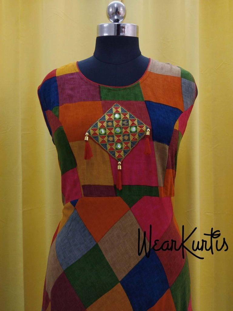 Designer Multicolor Flared Modal kurti, Embroidery and tassels on yoke (Refer Size chart, 3rd pic before ordering, No Refund, No Return, No exchange, No cancellation), Round neck, Height 47, short Sleeves attached.
