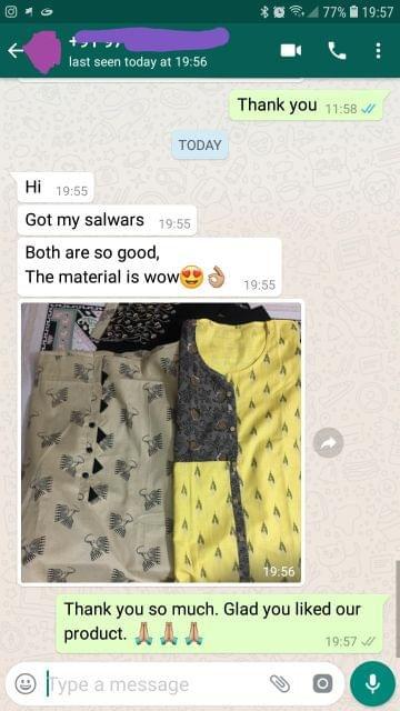 I got my salwars material... Both are so good.... The material is awesome... Very nice. -Reviewed on 25-July-2019