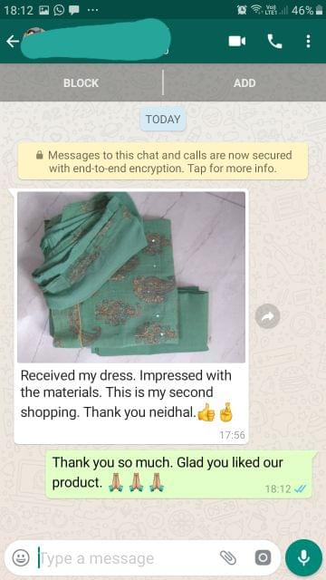 Received my dress... Impressed with the materials... This is my second shopping... Thank you Neidhal... I'ts too good. -Reviewed on 01-Aug-2019