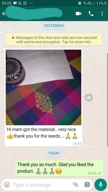 "I got the material... ""Very nice so good""... Thank you for the seeds. -Reviewed on 10-Aug-2019"