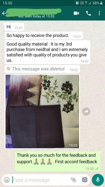 Good quality materials... It is my 3rd purchase from Neidhal and i'am extremely satisfied with quality of products you give us. -Reviewed on 16-Aug-2019