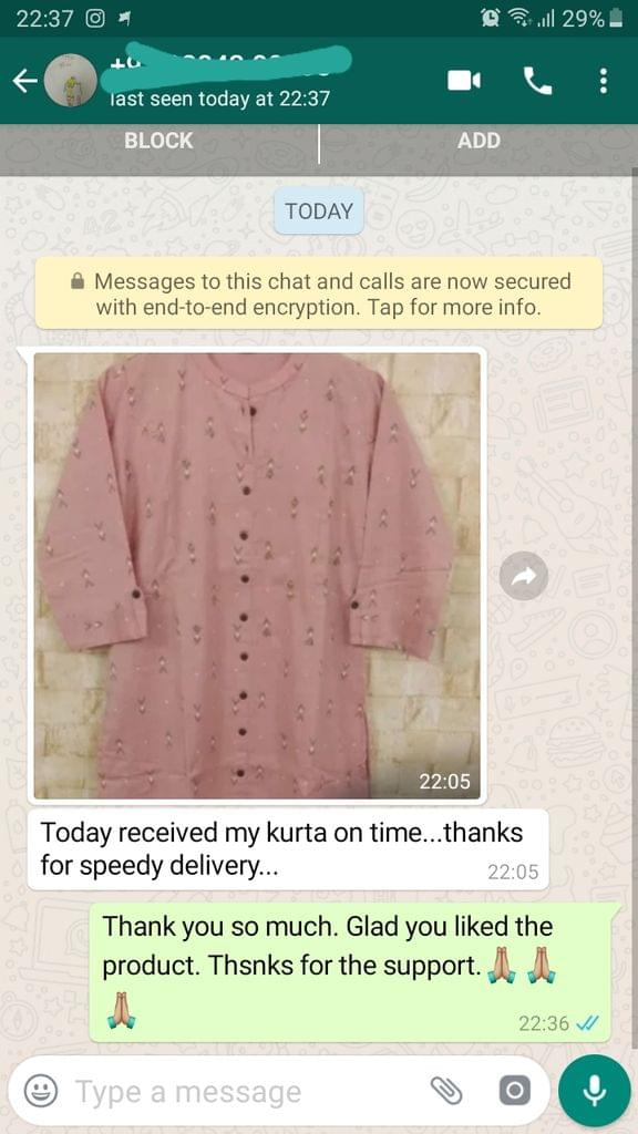 Today received my  kurda on time... Thanks for speedy delivery... -Reviewed on 16-Aug-2019