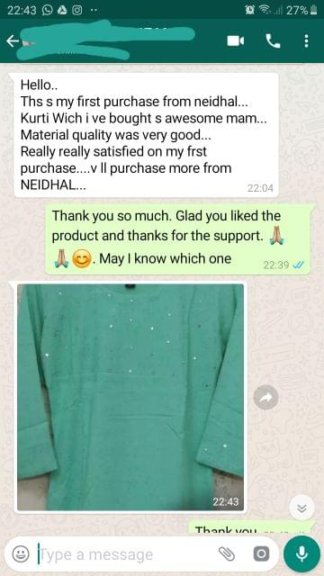 This is my first purchase from Neidhal... Kurti wich i love bought is awesome.... Material quality was very good... Really really satisfied on my first purchase... We will purchase more from Neidhal. -Reviewed on 16-Aug-2019
