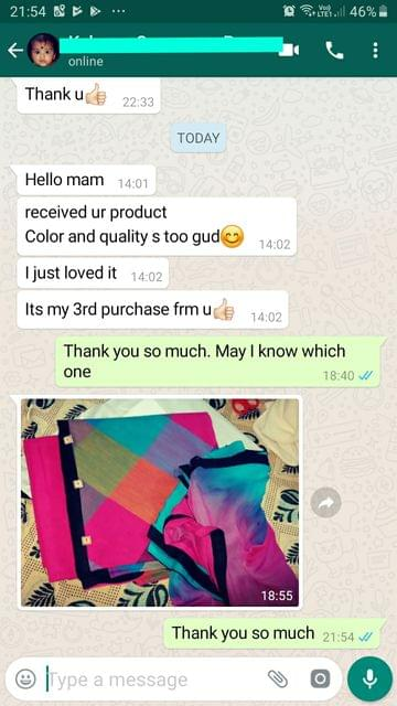 I received your product... Colour and quality is too good... I just loved it... I'ts my 3rd purchase from you good.  -Reviewed on 20-Aug-2019