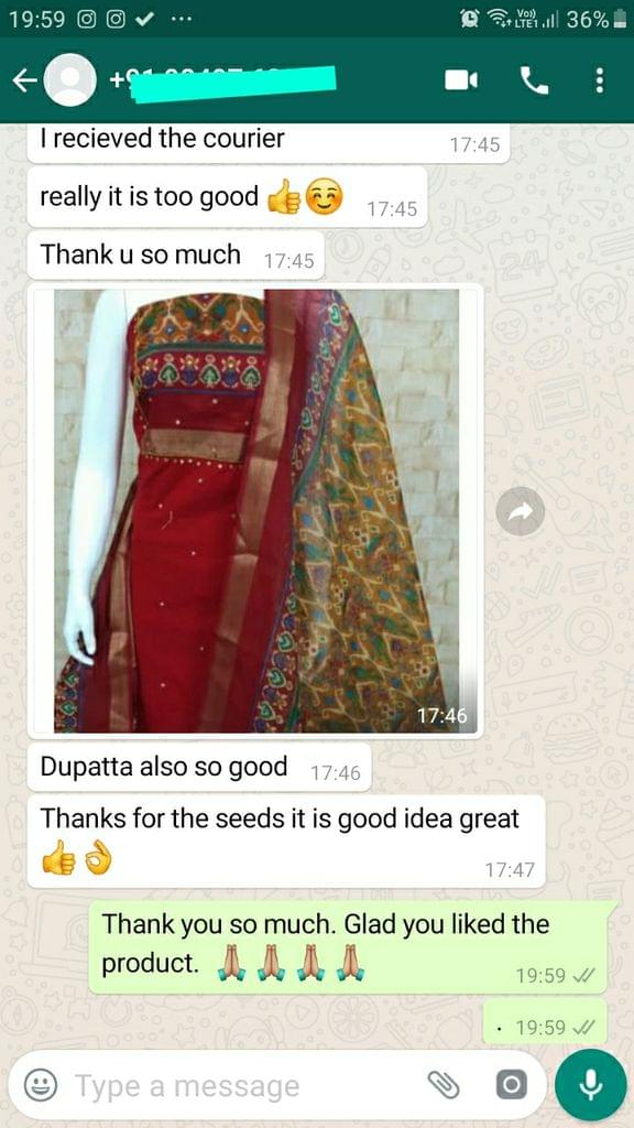 """I received the courier, Really it is too good, Thank You, Dupatta also so good, thanks for the seeds, It is good idea """"Great"""" -Reviewed on 21-Aug-2019"""