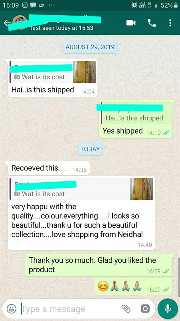 "Very happy with the quality, Color everything, I looks so beautiful, Thank you for such a beautiful collection. Love Shopping from ""NEIDHAL"" -Reviewed on 31-Aug-2019"