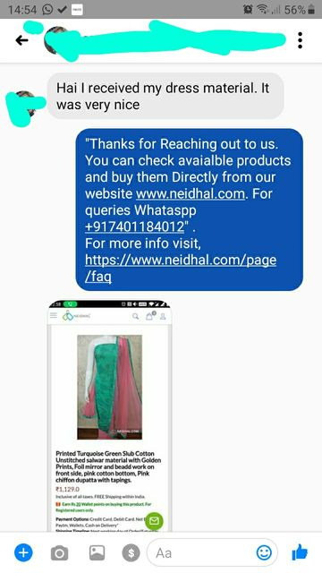 HI, I received my dress material. It was Nice. -Reviewed on 03-Sep-2019