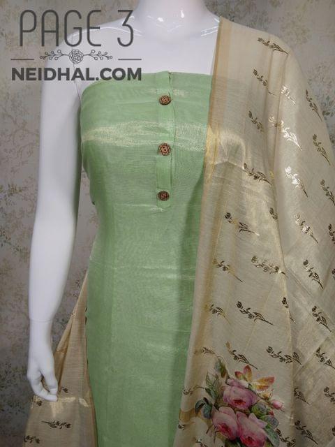 PAGE 3: Designer Light Pista Green Tissue Silk unstitched Salwar material(requires lining) with wodden buttons  on front sided work, plain back side, light pista green taffeta bottom, Digital printed  Tissue silk dupatta with  tassles.
