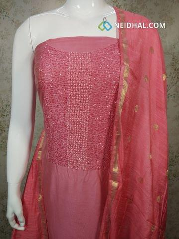 Designer Pink Silk Cotton unstitched Salwar material with pipe and bead work on yoke, pink silk cotton bottom, zari thread weaving silk cotton dupatta.(requires tapings)