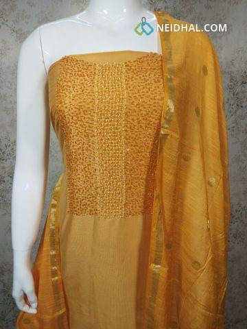 Designer Yellow Silk Cotton unstitched Salwar material with pipe and bead work on yoke, yellow silk cotton bottom, zari thread weaving silk cotton dupatta.(requires tapings)