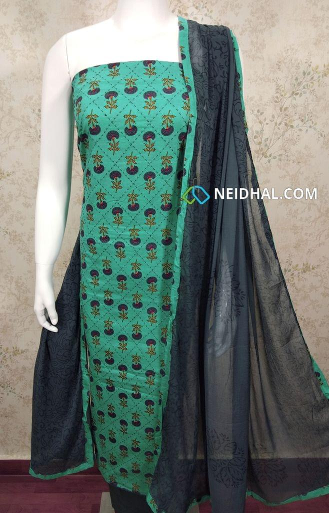 Mughal Printed  Turquoise Blue Cotton unstitched Salwar material with thread work on front side , plain back side, grey cotton bottom, printed chiffon dupatta with tapings.