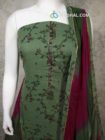 Printed Green slub Cotton unstitched salwar material with potli buttons on yoke, purple cotton bottom, Dual color chiffon dupatta with tapping