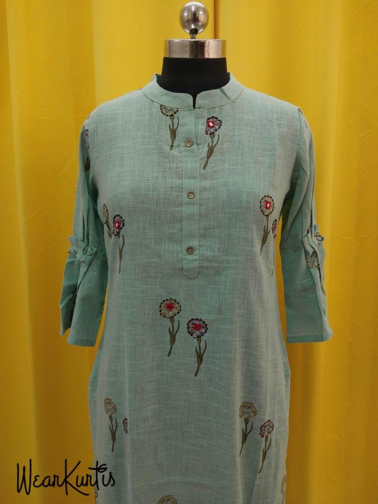 Floral Printed Turquoise Blue Slub Cotton Kurti with Front open placket,(Refer Size chart, 3rd pic before ordering, No Refund, No Return, No exchange, No cancellation), Mandrin Collar, Height - 46, 3/4 bell Sleeves, side slits.
