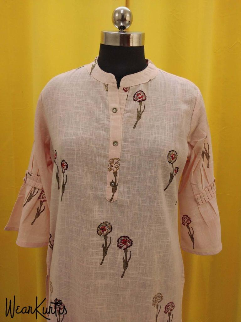 Floral Printed Peach Slub Cotton Kurti with Front open placket,(Refer Size chart, 3rd pic before ordering, No Refund, No Return, No exchange, No cancellation), Mandrin Collar, Height - 46, 3/4 bell Sleeves,  side slits.