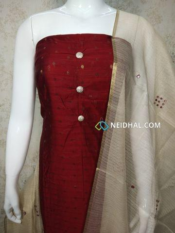 Designer Maroonish Red Silk Cotton unstitched Salwar material with zari butta work on either side, silk cotton bottom, foil mirror hand work on Tissue dupatta with tassels