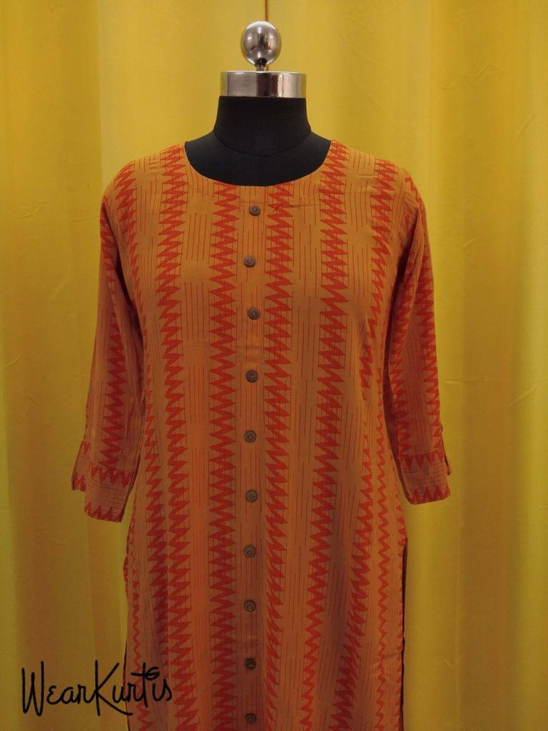 Printed Orange Modal fabric kurti with front closed placket(Refer Size chart, 3rd pic before ordering, No Refund, No Return, No exchange, No cancellation), Round Neck, Height 44,3/4 sleeves with flaps, front and side slits.
