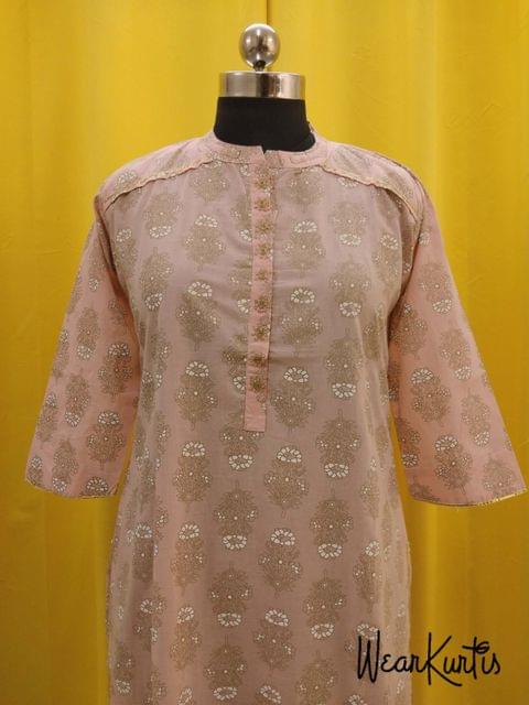 Peachish Pink Cotton Kurti with  Front open placket with Golden Prints(Refer Size chart, 3rd pic before ordering, No Refund, No Return, No exchange, No cancellation), Mandarin collar, Height 44, 3/4 sleeves, side slits, rope tassels at the slits