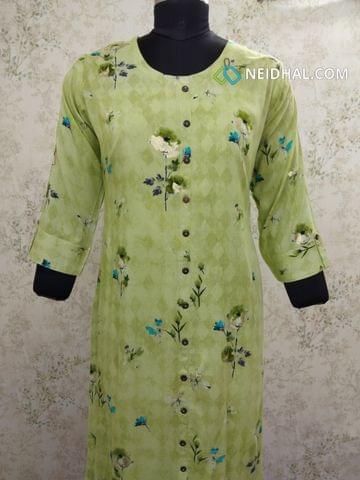 Floral Printed Green Modal Kurti with  Front closed placket with Golden Prints(Refer Size chart, 3rd pic before ordering, No Refund, No Return, No exchange, No cancellation), Round Neck, Height 43, 3/4 sleeves with flaps, front and side slits.