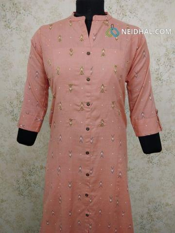 Printed Peach cotton kurti with zari thread work, front open placket (Refer Size chart, 3rd pic before ordering, No Refund, No Return, No exchange, No cancellation), Mandarin Collar, Height 44, 3/4Sleeves with flaps, front and slide slits, one side pocket.