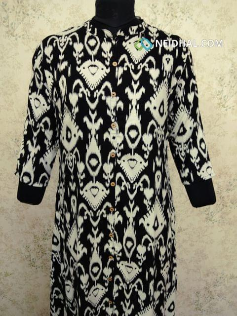 Printed Black Modal  kurti with front open placket (Refer Size chart, 3rd pic before ordering, No Refund, No Return, No exchange, No cancellation), Mandarin Collar, Height 44, 3/4Sleeves , front and slide slits, one side pocket.