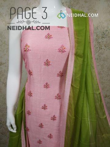 PAGE 3: Designer Pink Metallic Georgette Fabric unstitched Salwar material(requires lining) with embroidery work on front side, plain back side, green cotton bottom, green chiffon dupatta with taping