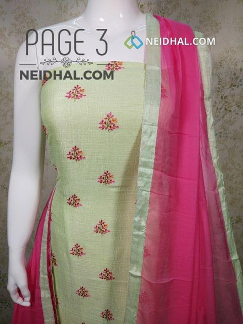 PAGE 3: Designer Green Metallic Georgette Fabric unstitched Salwar material(requires lining) with embroidery work on front side, plain back side, pink cotton bottom, pink chiffon dupatta with taping