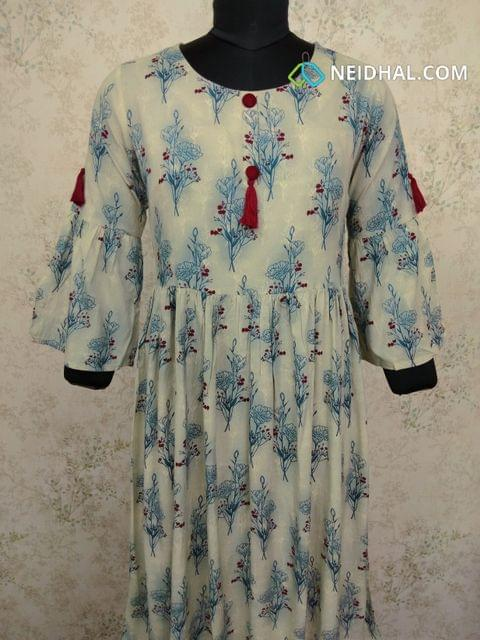 Printed Modal gathered waistline flared Kurti (Refer Size chart, 3rd pic before ordering, No Refund, No Return, No exchange, No cancellation), Round Neck, Height 44,3/4 bell sleeves,