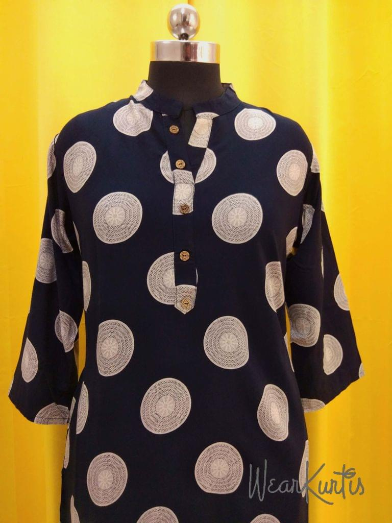 Printed Navy Blue Modal fabric Kurti with Front open placket(Refer Size chart, 3rd pic before ordering, No Refund, No Return, No exchange, No cancellation), Mandarin collar, Height 39, 3/4 sleeves, side slits.