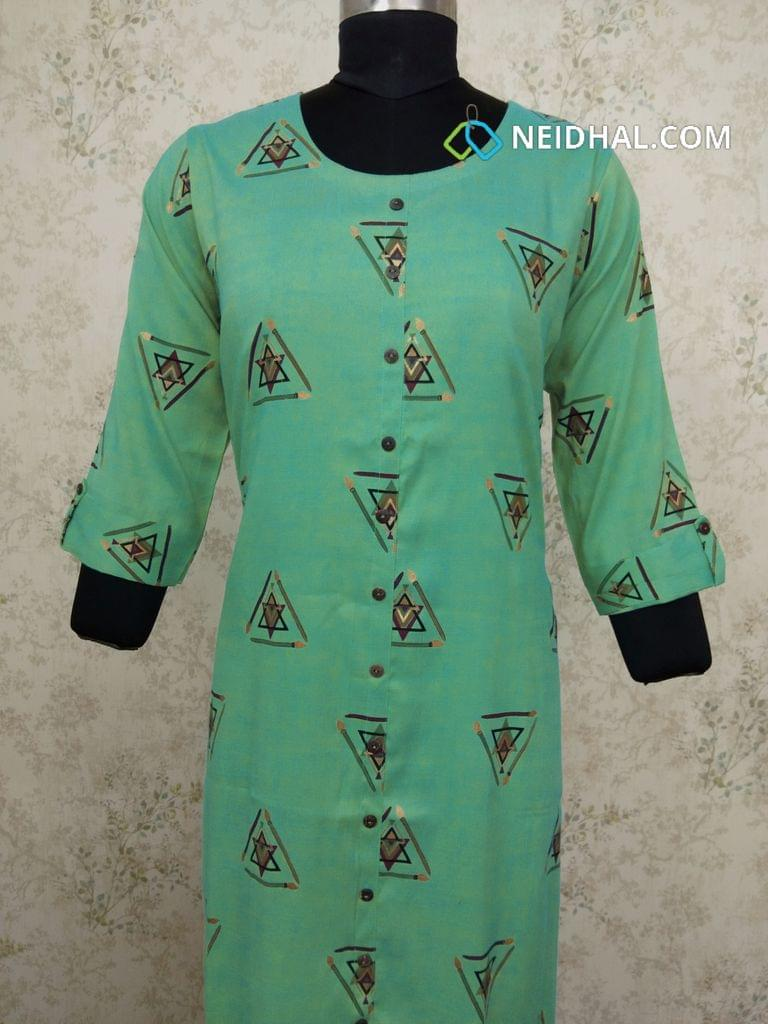 Golden Printed Turquoise Green Modal fabric Kurti with Front closed placket(Refer Size chart, 3rd pic before ordering, No Refund, No Return, No exchange, No cancellation), Round Neck, Height 43, 3/4 sleeves with flaps, front and side slits.