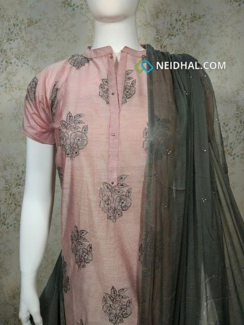 Designer Pink Silk unstitched salwar material(requires Lining) with neck patten, embroidery work on front side, plain back side, grey silk cotton bottom, golden dew drops on grey chiffon dupatta with tapings