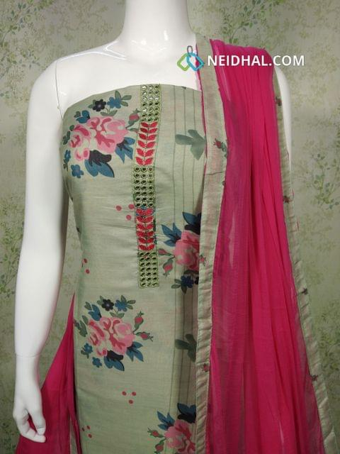 Floral Printed Greenish Grey Silk unstitched salwar material with foil mirror and thread work on yoke, pink Cotton bottom, pink chiffon dupatta with taping