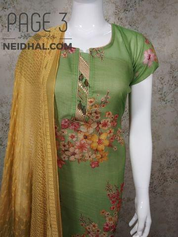 PAGE 3: Designer Floral printed Green Linen unstitched Salwar material(requires lining) with neck patten, thread work on front side, metal buttons on yoke, plain back side, fenu greek yellow cotton bottom,embroidery work on chiffon dupatta with tapings