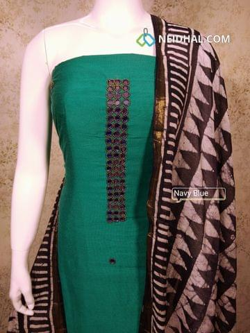 Premium Teal Green Dupion silk Unstitched salwar material withreal mirror, bead work on yoke,batik printed navy blue cotton bottom, Batik Printed navy blue cotton dupatta with tassels..