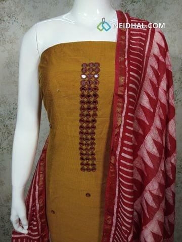Premium Fenu Greek Yellow Dupion silk Unstitched salwar material withreal mirror, bead work on yoke,batik printed red cotton bottom, Batik Printed red cotton dupatta with tassels..