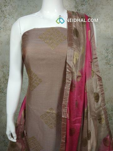 Premium Silk Cotton unstitched salwar material(requires lining) withzari thread work on front side, plain back side, cotton bottom, zari thread work on chiffon dupatta with taping