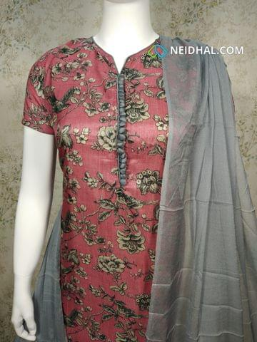 Premium Floral Printed  Pink Semi Tussar Unstitched salwar material(requires lining) with neck patten, potli buttons on yoke, grey silk cotton bottom, grey chiffon dupatta with tapings.