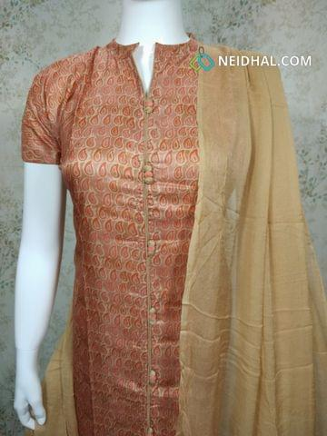 Premium printed Semi Tussar Unstitched salwar material(requires lining) with neck patten, potli buttons on yoke, beige silk cotton bottom, beige chiffon dupatta with tapings.
