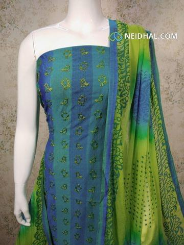 Blue Silk Cotton Unstitched salwar material(requires lining) with embroidery work on front side, plain back side,  green cotton bottom, Dual color chiffon dupatta with tapings.