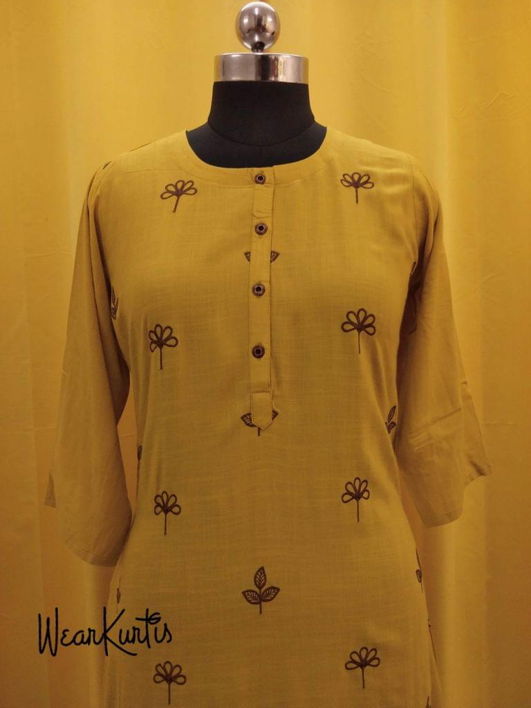 Yellow modal Kurti with embroidery work on front side,(all buttons can be unbuttoned)(Refer Size chart, 3rd pic before ordering, No Refund, No Return, No exchange, No cancellation), Round Neck, Height - 47, 3/4 Sleeves, front and side slits, one side pocket.
