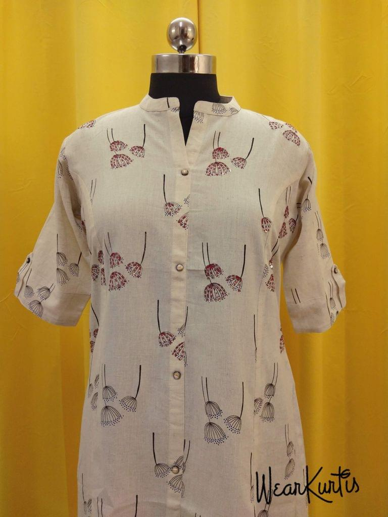 Printed Cream Jute Flex kurti, with thread and sequence work on front side, with front open placket (Refer Size chart, 3rd pic before ordering, No Refund, No Return, No exchange, No cancellation), Mandarin Collar, Height 43, 3/4 sleeves with flaps, front and side slits.