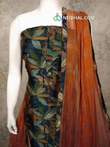 PremiumDigital Printed Navy Blue Silk Cotton Unstitched(requires lining) salwar material with buttons on yoke,orange cotton bottom, orange chiffon dupatta with tapings.