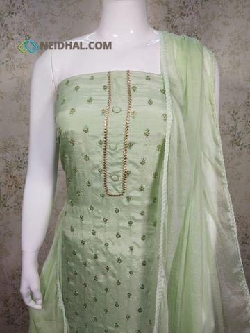Premium Light Pista Green Soft Silk Cotton unstitched Salwar material(requires lining) with ethread and sequence work on front side, plain back side, drum dyed cotton bottom, Light pista green chiffon dupatta with lace tapings