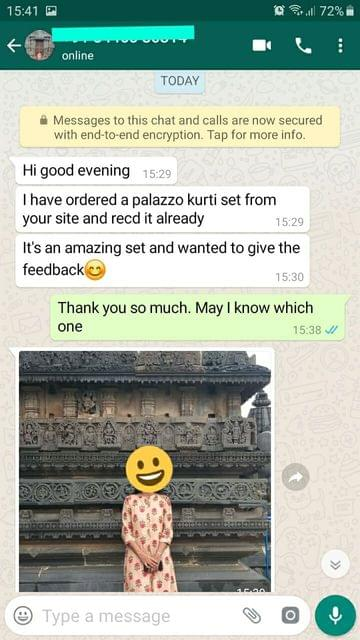 I have ordered a palazzo kurti set from your site and received already. Its amazing set and wanted to give feedback -Reviewed on 04-Sep-2019
