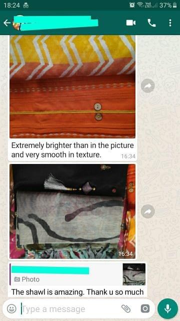 Extremely brighter than the picture and very smooth in texture. The Shawl is amazing-Reviewed on 6-Sep-2019