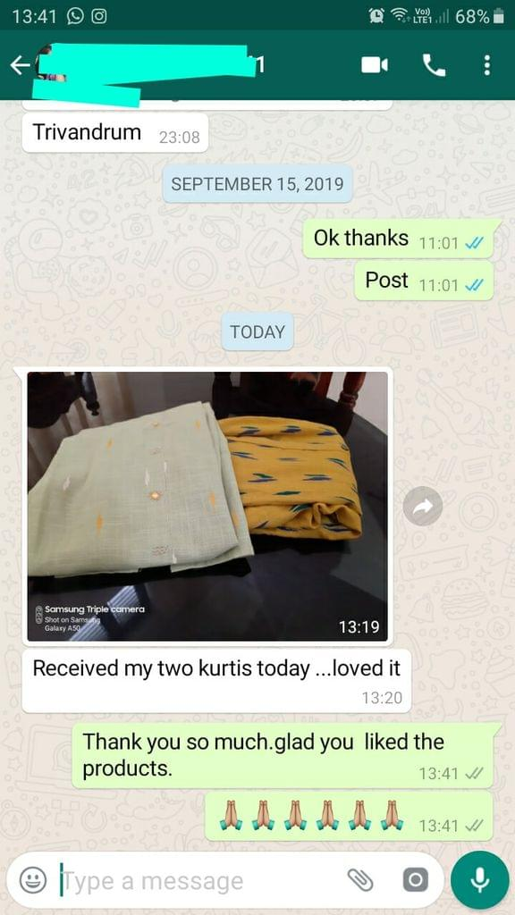 Received my two kurtis today. Loved it. -Reviewed on 18-Sep-2019