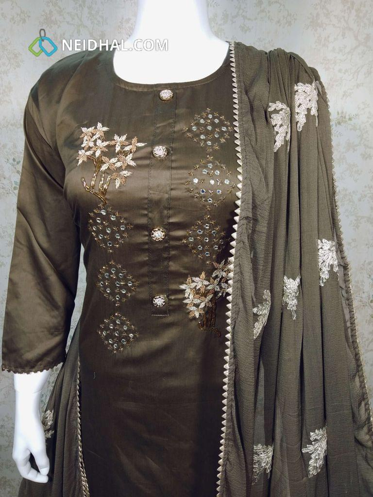 Designer Brownish Green Silk Cotton Semi Stitched salwar material(requires lining) with neck patten, bead and foil mirror work on yoke, drum dyed Cotton bottom, patch work on chiffon dupatta with tapings.