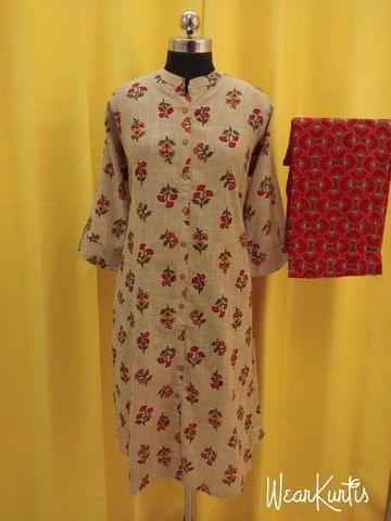 Mughal Printed Beige and Pink Slub Cotton Kurta with Printed Palazo set, straight cut with buttons in centre front placket, (Refer Size chart, 3rd, 4th pic before ordering, No Refund, No Return, No exchange, No cancellation), Mandarin Collar, Height -44, 3/4 Sleeves with flaps ,two side pocket, slip-on Bottom, Elasticated back waist band and front waist band for comfort fit, Flared palazo
