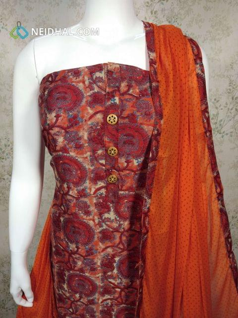 Digital Printed Silk Cotton Unstitched salwar material with wodden buttons on yoke, orange cotton bottom, printed orange chiffopn dupatta with tapings.